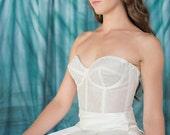 Chantilly Lace Bustier, Silk Organza Corset, Fully Boned, Bridal Corset, Lace bridal corset top with zipper back