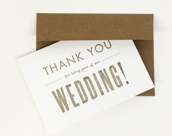 Thank You Card - Wedding Thank You - Thank You For Being A Part Of Our Wedding - Pack of 6