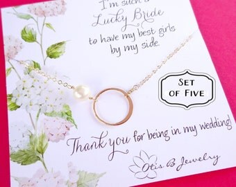 Bridal jewlery Gift Set of 5: Five Bridesmaid thank you cards with eternity necklace,  bridesmaid thank you cards, gold karma necklaces
