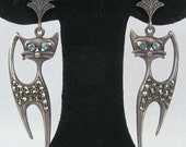 Vintage 925 Sterling Silver Marcasite Stone Drop Dangle Cat Kitten Earrings with Aqua Rhinestone Eyes Pierced Siamese