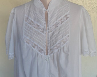 Vintage Robe Deena House Coat Dressing Gown White Medium