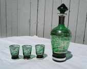 Decanter Set Green Glass with Silver Overlay, Stopper and 3 Shot Glasses Vintage Italy Pegasus VINTAGE