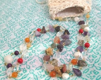 Tussy Mussy on Semiprecious Beaded chain necklace