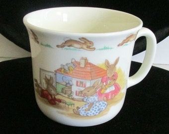 Royal Doulton, Bunnykins Cup, 1936 Copyright, English Bone China, Beatrix Potter Cup, Made in England, Serving, Houseware