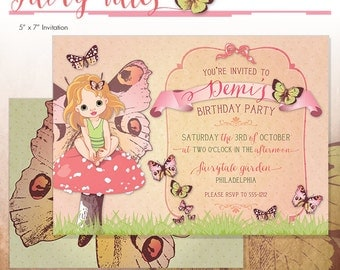 Fairy Party Invitation - Fairies Printable Birthday Party Invite - DIY Print - Made to Order Printed - Fairytales - Butterfly Garden