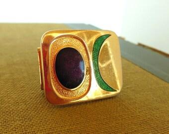 Vintage de Passille - Sylvestre Enamel Buckle Modernist Moon Purple Green Gold 60's (item 205)