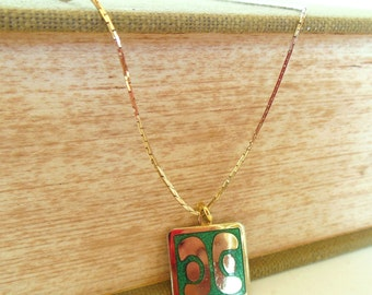 Vintage de Passille - Sylvestre Enamel Necklace Modernist Abstract Green Gold Small 60's (item 205)