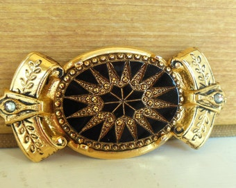 Vintage Glass Brooch Rhinestone Gold Black Large 60's (item 219)