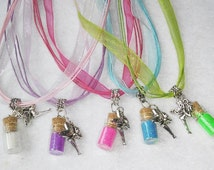 Pretty Magical Fairy Dust Powder - Handmade Glass Vial Necklace. Fast shipping from USA. Gift Free Printable Tooth Fairy Letter