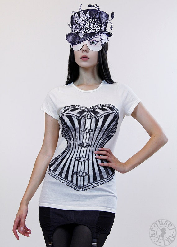 Clearance - Womens Tshirt - Victorian Corset Tshirt - Womens tops and tees - IVORY - Off White