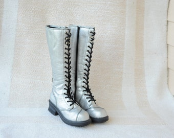 Vintage 90's NA NA Tall Silver Boots / ITEM166