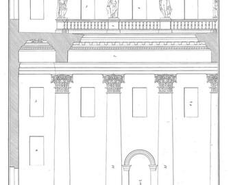 1842 Composite Order Architectural Print , Palladio,  Columns, Capitals, Entablature, Plate 87