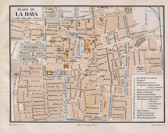 1920s Vintage Map of The Hague, Netherlands,   Vintage Street Plan, City Map, Retro Wall Decor