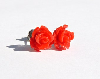 Fire Engine Red Earrings  10mm Bright Cherry Rose Cabochon Titanium Stud Earring Pair  Hypoallergenic Jewelry