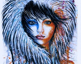 Print Girl in Fur Watercolor//snow,Alaska,native,pretty,painting,art,wall hanging,artwork,print,digital print,blue,orange,fire,ice,travel