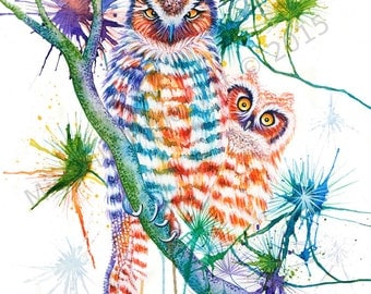 watercolor,print,painting,art,artwork,nature,wildlife,animals,animal art,abstract,owl,owls,baby,nursery,rainbow,color,mother,feathers,love