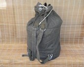 Vintage Extra Large Distressed Washed Out Green Drawstring Canvas Duffle Bag Backpack