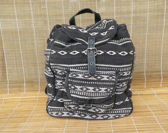 Vintage 1980's Medium Size Off White Black Stripes Textile Drawstring Backpack