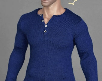 1/6th scale XXL blue henley shirt for Hot Toys TTM 20 size figures and dolls