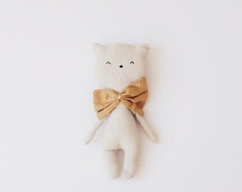 Little kitty handmade cuddly toy with ocher bow tie