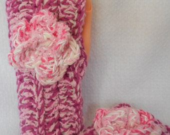 Crocheted Fingerless Gloves  Dark Pink Acrylic and Reynolds Blossom Yarn with Rose Accent