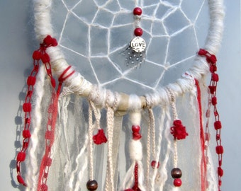 Dream catcher boho style, white lace red heart, yarn wrapped, upcycled wreath wall hanging, dreamcatcher, gift idea , anniversary gift