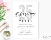 Printable Anniversary Party Invitation, 25th Anniversary, Silver Wedding Invitation, Faux Glitter