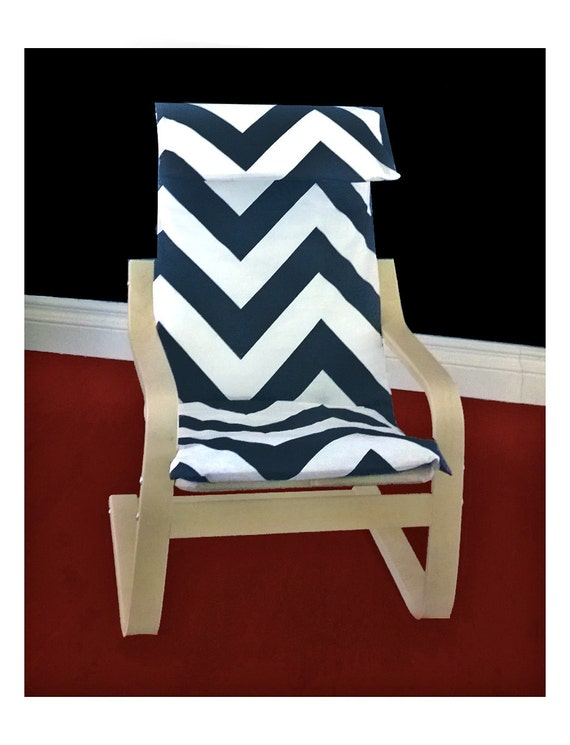 Ikea Algot Wall Upright Shelves ~ IKEA KIDS POÄNg Cushion Slipcover  Zippy Charcoal White Chevron Slub
