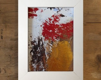 Framed mixed media, abstract, red, gold, white, white framed, ready to hang, original on paper, mother earth