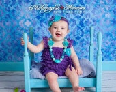 Purple romper and headband, Baby girl 1st birthday outfit, Under the Sea Birthday, Baby romper, Cake Smash Outfit, Birthday Dress Photo prop