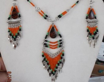 SALE Native American Style Beaded Black Orange and Green with Tiger Eye Stone Statement Necklace Southwestern, Hippie, Boho Ready to Ship