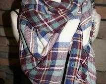 Plaid Tartan Blanket Scarf Maroon Blue Plaid Scarf Christams Gift Scarves Zara Style Plaid 2014 Bloggers Favorite