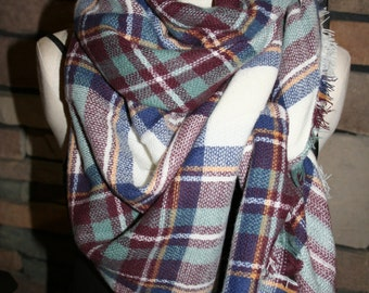 Plaid Tartan Blanket Scarf Maroon Blue Plaid Scarf Christams Gift Scarves Zara Style Plaid 2014 Bloggers Favorite-Monogramming Avail