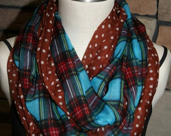Blue and Brown Plaid Polka Dot Print Infinity Scarf Chunky Circle Loop Scarf-Fall Scarf Womens Accessories-Western Scarf