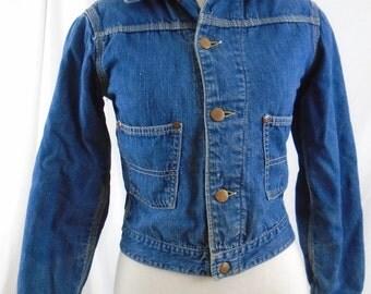Kids 1950s Denim Jacket by Gross Rail Chief Jean Jacket. Boys size or Fits XS lady Crop fit