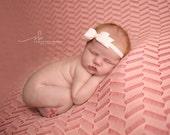 Newborn Headband - White Bow Headband - Infant - Baby - Toddler Girls - Wool Felt Bow- Baptism - Christening - Glitter Headband