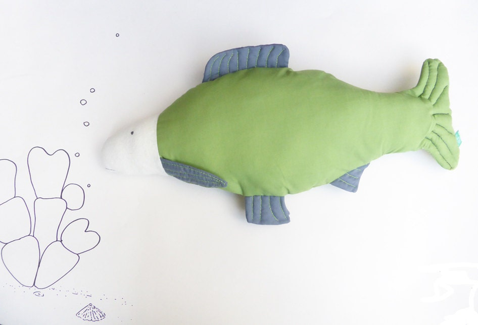 Green decorative stuffed throw pillow fish handmade sea by for Fish shaped pillow
