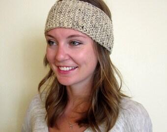 knit headband oatmeal, knit ear warmer beige