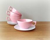 Retro Pink Melmac Cups and Saucers Aztec Melmac 1950s