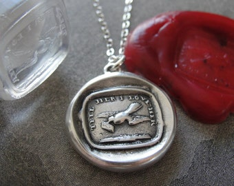 Love Message Wax Seal Necklace - Dove antique wax seal jewelry charm motto Tell Her I Love Her from RQP Studio