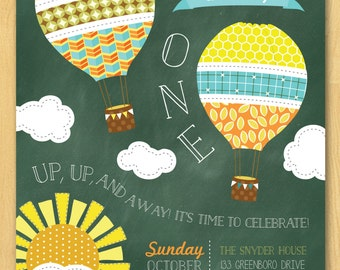 Hot Air Balloon Up Up and Away Birthday Invitation Printable