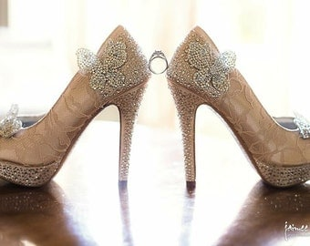 Wedding Shoes -- Champagne Platform Peeptoes with Silver Crystal Heel, Heel Cup and Platform and Silver Crystal Butterflies
