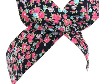 Navy blue with pink mini floral print wire headband Pin up