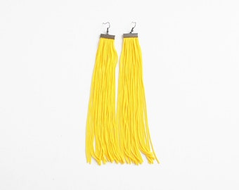 Yellow fringe earrings, yellow earrings, yellow tassel earrings, beach earrings, extra long earrings, over size earrings, summer trends