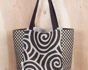 Chocolate Swirls Tote Bag- Christmas Present- Canvas Tote bag- Cotton and Jute Tote- Brown and Natural Tote- by beckyzimmdesign
