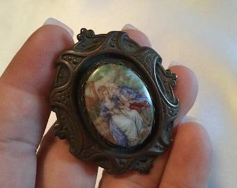 Vintage Pin Brooch Victorian Figural Scene