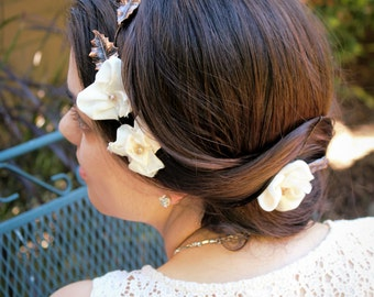 Rustic Hair Vine- Hair Flower Crown, Bridal Hair Wreath- Leaf Hairpiece Bridal Halo, Wedding Halo- Hair Wedding Accessories, Bridal Headband