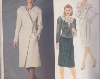 1980s Delicious Princess Diana Style Suit Vintage Pattern, Vogue Paris Original, Chloe, Blouse Frilled Neck Sleeves, Curvy Jacket Slim Skirt