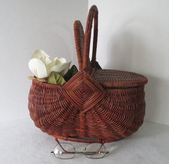 Wicker Basket With Hinged Lid : Picnic basket vintage wicker hamper hinged lid by hobbithouse