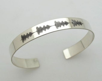 Wedding Anniversary Gift - Soundwave Cuff - Personalized Men's Bracelet - Gift for Him, Her, Sterling Silver Cuff Bracelet - Unisex Bracelet